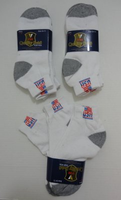 3pr USA/Flag ANKLETs 9-11 Gray Heel & Toe