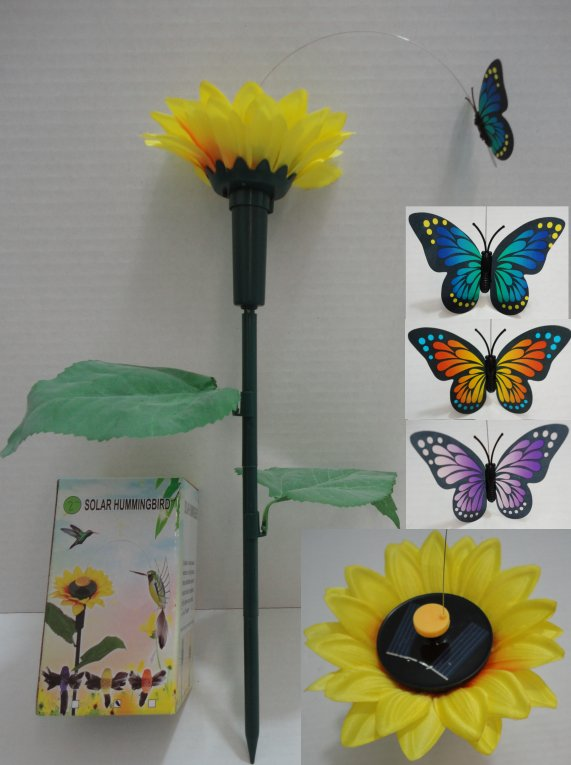 SOLAR Yard Stake with Sunflower [Butterfly]