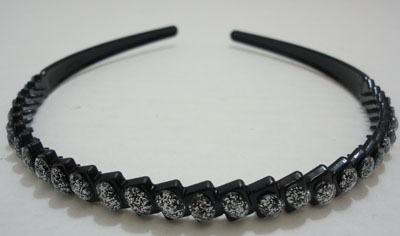 Black Plastic Headband with Silver Sparkle