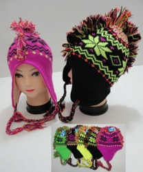 Neon Knit Mohawk Hat with Ear Flap--Snowflakes