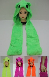 Neon Color Terry Cloth Hat with Hand Warmer