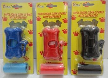 30pc Doggie Clean-Up Bags with Bone-Shaped Dispenser
