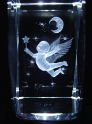 3D Laser Etched Crystal-Cherub with Moon