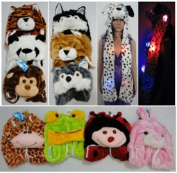 "Plush Animal Hat with Hand Warmers--Light Up - <span style=""color:red"">ON SALE </span>"