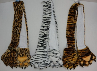 Plush Animal Print Scarf with Paw Gloves