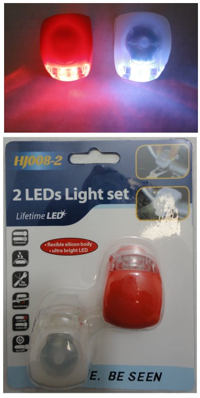 Red/Clear LED Bicycle Light Set