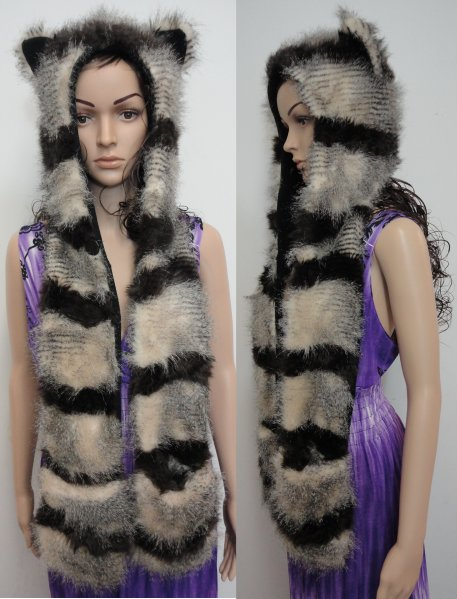 Full Animal Hood with Mittens [Brown/Tan Stripes]