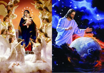 3D Picture 61--Jesus Over Earth/Mary with Angels