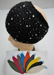 Wide Hand Knitted Ear Band [Lg & Sm Rhinestones]
