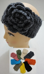 Hand Knitted Ear Band [Solid Color LOOP w Flower]