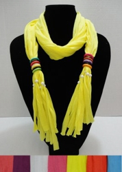 Scarf Necklace with MultiColor Wooden Beads-72""