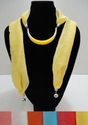 Scarf Necklace--Crescent Moon with End Charms [Ribbed Scarf]-72""