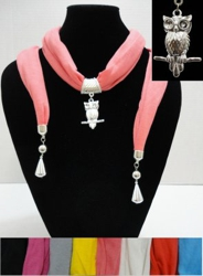 Scarf Necklace with Owl Charm and End Charms-72""