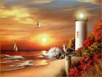 3D Picture 9610--Sunset Lighthouse