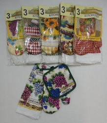3pc Oven Mitt/Pot Holder/Dish Towel Combo