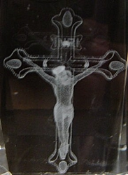 3D Laser Etched Crystal-Jesus with Cross