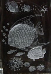 3D Laser Etched Crystal-Tropical Fish