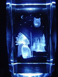 3D Laser Etched Crystal-American Indian