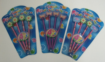 4pc Butterfly/Flower Pencils
