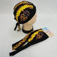 Skull Cap-Yellow & Red Flames with Maltese Cross