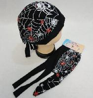 Skull Cap-Web with Red & White Spiders