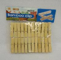 24pc Bamboo Clothespin Set