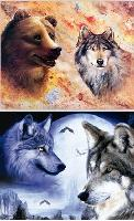 3D Picture 9616--Bear & Wolf/2 Wolves