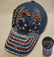Denim Hat with Bling [USA] Red/White/Blue