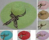 Ladies Woven Summer Hat w Leopard Print Bow