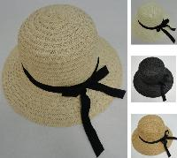 Ladies Round Woven Summer Hat w Long Ribbon
