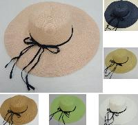 Ladies Woven Summer Hat w Navy Shoestring Ribbon