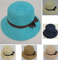 Ladies Round Woven Summer Hat w Stitched Ribbon