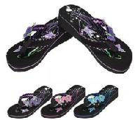 Ladies Platform Flip-Flops--Double Butterfly