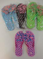Ladies Polka Dot Flip Flops with Large Ruffled Flower