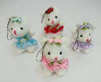 "3.5"" White Teddy Bear with Hanger"