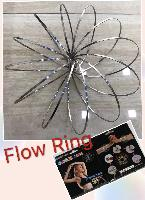 "Flow Rings Kinetic Spring Toy-Silver 5.75"" Flat-Black Package - <span style=""color:red"">HOT TOY IN THE MARKET</span>"