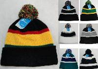 Double-Layer Knitted Hat with PomPom--Assorted Colors