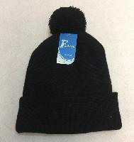 Double-Layer Knitted Hat with PomPom [Black]