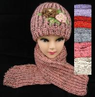 Knitted Hat & Scarf Set [Flowers/Metallic Thread]