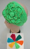 Wider Hand Knitted Ear Band--Flower with Sequins