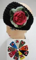Hand Knitted Ear Band w/ MultiColor Flower - <b>Assorted Colors.</b>