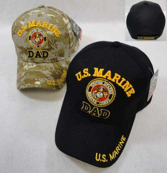 LICENSED US Marine DAD Ball Cap-Assorted Colors