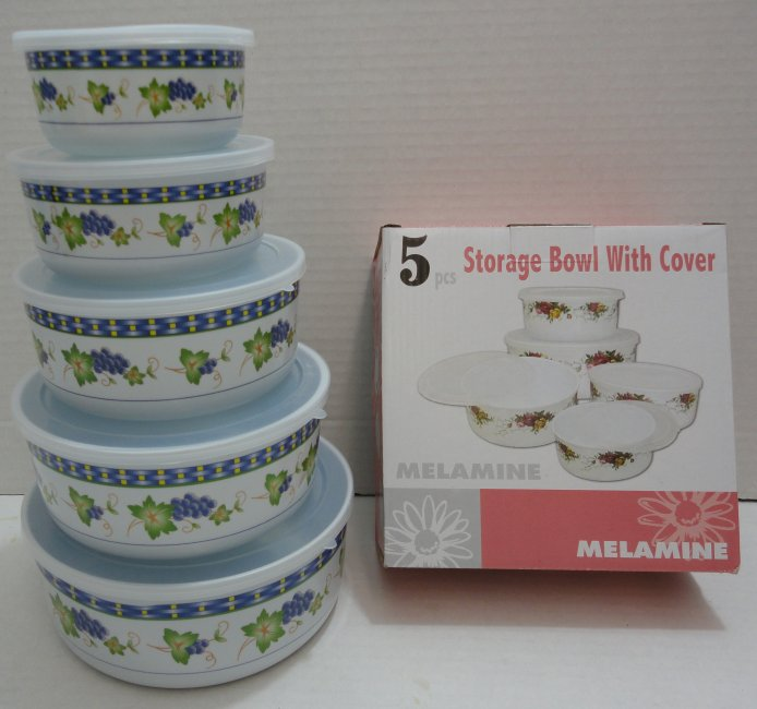5pc Melamine Storage Bowl with Lid Grapes