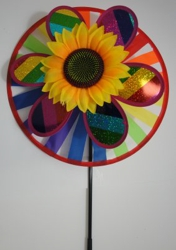 "14"" Round Wind Spinner-Rainbow & Sunflower"
