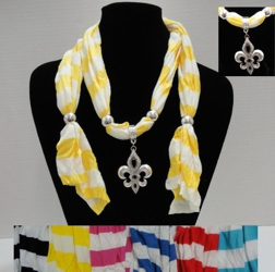 "Scarf Necklace-Striped Scarf & Fleur de Lis-64"" - <span style=""color:red"">ON SALE UP TO 50% OFF</span>"