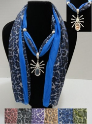 "Scarf Necklace--Solid Color/Animal Print--Spider Charm-70"" - <span style=""color:red"">ON SALE UP TO 50% OFF</span>"