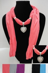 "Scarf Necklace-Heart Charm-70"" - <span style=""color:red"">ON SALE UP TO 50% OFF</span>"