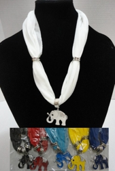 "Short Scarf Necklace-Rhinestone Elephant 30"" - <span style=""color:red"">ON SALE UP TO 50% OFF</span>"