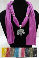"Scarf Necklace-Scrollwork Elephant 70"" - <span style=""color:red"">ON SALE UP TO 50% OFF</span>"