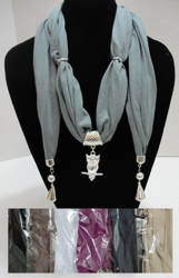 "Scarf Necklace with End Charms-Owl 70"" - <span style=""color:red"">ON SALE UP TO 50% OFF</span>"